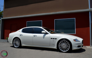 2011 Maserati Quattroporte on 20x8.5 20x10 RoadForce RF15 Silver Machine face